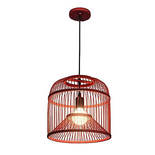 WISHVYQ Jaula de pájaros China Lámpara de Dormitorio para niños Restaurante Rojo Luz Colgante Cocina Pastoral Accesorios de iluminación Techo para Sala de Estar Hotel Granja Lámpara Colgante