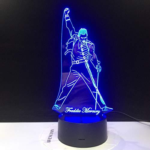 Queen Freddie Mercury Figura 3D Lámpara de mesa Niños Juguete Regalo Led Luz de noche Sensor Bebé Niños Oficina Decoración de la habitación Lámpara