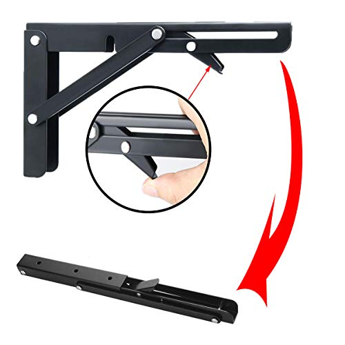 Folding Shelf Brackets - Heavy Duty Metal Collapsible Shelf Bracket for Bench Table, Shelf Hinge Wall Mounted Space Saving DIY Bracket, Max Load: 150 lb 2 PCS (14 Inch, Black)
