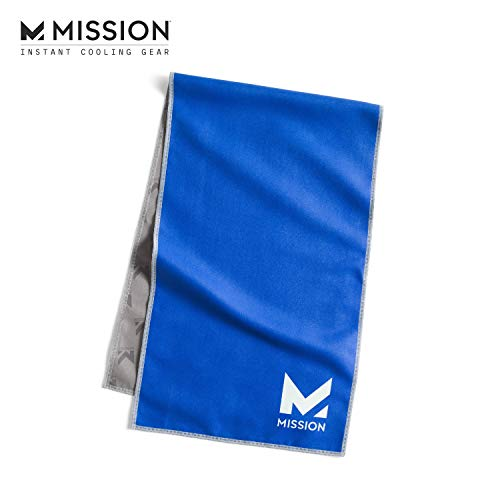 """Mission Original Cooling Towel- Evaporative Cool Technology, Cools Instantly when Wet, UPF 50 Sun Protection, For Sports, Yoga, Golf, Gym, Neck, Workout, 10"""" x 33""""- Blue"""