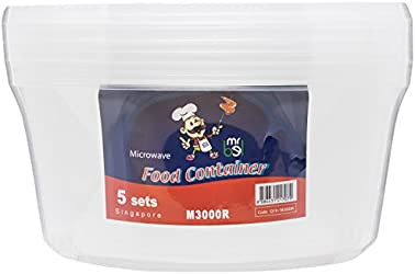 Bel M3000R/5 Plastic Food Container with Lid, Round (Pack of 5),translucent