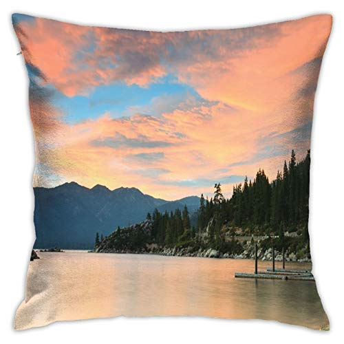DHNKW Throw Pillow Case Cushion Cover,Romantic Sunset At Lake Tahoe Peaceful Shoreline Sierra Nevada United States ,18x18 Inches