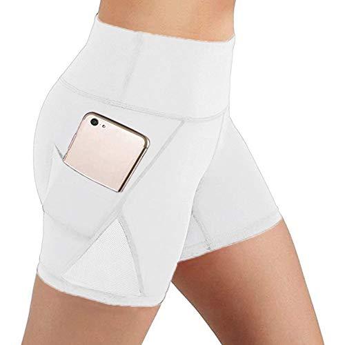 Pantalones cortos de yoga para mujer,Con cintura alta polaina shorts,deportes blancos Fitness running Shorts Shorts Entrenamiento Entrenamiento atlético Playa Elastic pantalones de yoga para la muje