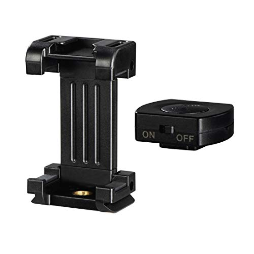 Hama Smartphonehalterung Pro II, 9,5 cm, mit Bluetooth-Fernauslöser BRS2, 4633, schwarz