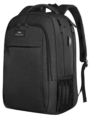 MATEIN Extra Large Backpack,TSA Friendly College School Bookbags with Laptop Compartment Fit 17Inch Notebook for Boy & Girl,Anti Theft USB Travel Work Rucksack with Luggage Sleeve-Black, Matein