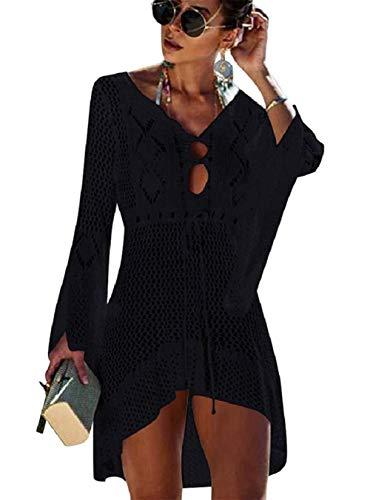 Kfnire Traje de baño de Las Mujeres Bikini Traje de baño Vestido de Playa Crochet (E- Negro)