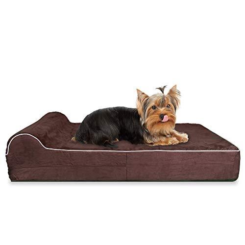 KOPEKS Orthopedisch hondenbed van geheugenschuim met kussen en waterdichte voering & anti-slip bodem, Small, chocoladebruin