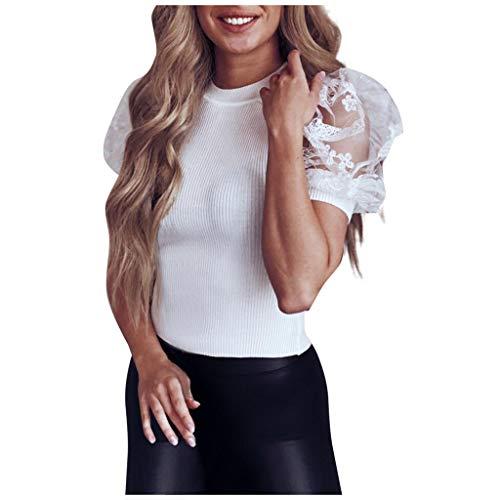 YBWZH Damen Bluse Shirt Solide Kurzarm Ballonärmel Top mit V-Ausschnitt Sommer Spaghetti Top Elegant Strand Hemdbluse Loose fit T Shirt Oberteile Tanktops Bluse