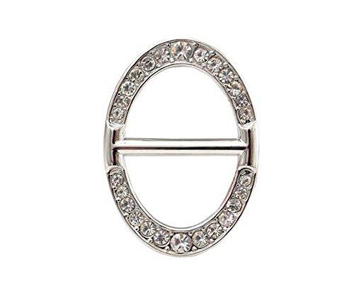 Tuchspange, Brosche, luxuriös, modern, oval, Metall mit Strassstein, für Kleidung, Halstuch, Geschenk für Damen und Mädchen silber