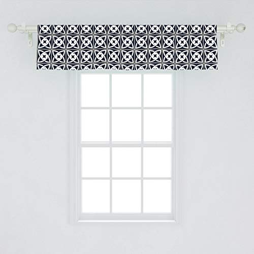 Lunarable Vintage Window Valance, Composition of Celtic Knot Inspired Motifs in Checkered Square Design, Curtain Valance for Kitchen Bedroom Decor with Rod Pocket, 54