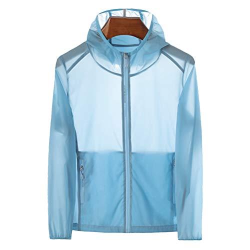 BESPORTBLE Herren wasserdichte Regenjacke mit Kapuze Windjacke Leichte Packbare Regenmantel Sonnenschutzkleidung (Blau 6XL)