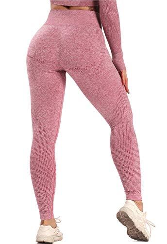 FITTOO Leggings Sin Costuras Mallas Mujer Pantalon Deportivo Alta Cintura Yoga Elásticoss #1 Rosa Claro X- Large