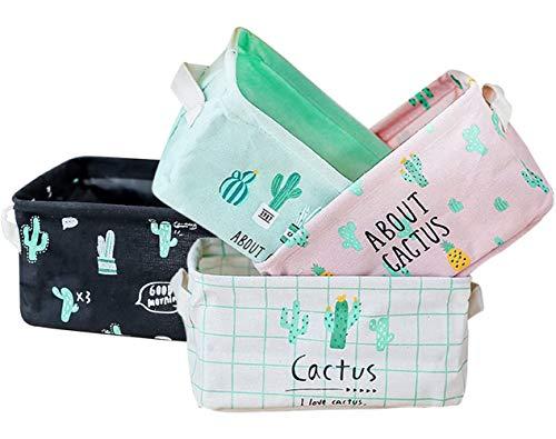 Storage Bins Foldable Cactus Storage Basket for Nursery, Kids Toys, Makeup, Small Items, Desktop Organization, Set of 4 (Multi)