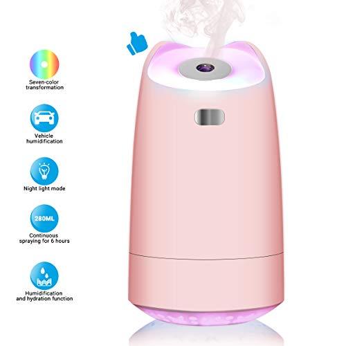 Mini Luftbefeuchter Ultraschall Leise 280ml USB Humidifiers mit 7-farbige LED-Lichter, Zwei Arbeitsmodi, 12h Arbeitszeit, automatische Abschaltung, für Heim, Büro, Babyzimmer, Auto(Pink)