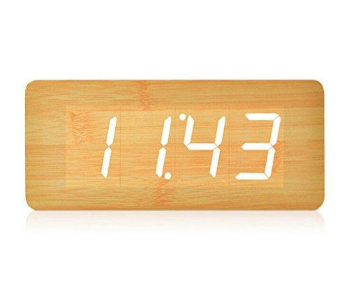 Longless Holz Uhr führte Wecker Stimme Holz retro 21*9*5CM