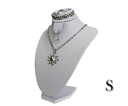 Yudu Schmuckbüste Dekobüste für Schmuckset Ohrring Ohrstecker Armband Ketten Ring (H26 cm, Kustleder Weiss)