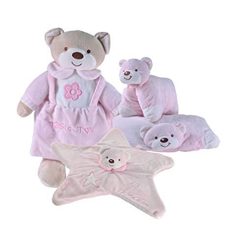 Tris & Ton Pack regalo recién nacido peluche 30cm, doudou estrella y conjín guarderia cesta original niño niña (trisyton) (rosa)