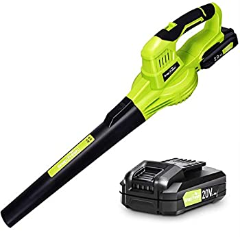 Leaf Blower - 20V Leaf Blower Cordless with Battery & Charger Electric Leaf Blower for Lawn Care Battery Powered Leaf Blower Cordless Lightweight for Snow Blowing  Battery & Charger Included