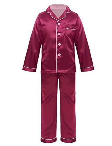 CHICTRY Schlafanzug Jungen Mädchen Lang Satin Pyjama Nachtwäsche Set Kinder Langarm...