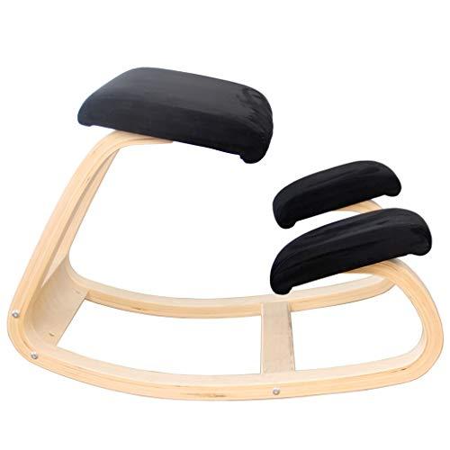 Lu- Ergonomische knielstoel, schommelende houding corrigeren houten kruk voor kantoor & huis, schommelende orthopedische knielstoel voor slechte rug, nek pijn & rugspanning verlichting (zwart)