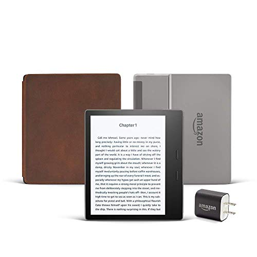 Kindle Oasis Essentials Bundle including Kindle Oasis (Graphite, Ad-Supported), Amazon Premium Leather Cover, and Power Adapter