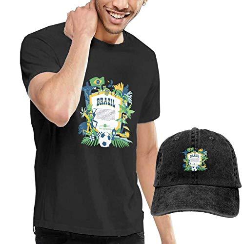 SOTTK Herren Kurzarmshirt Brazil Football Carnival Men's Short Sleeve T Shirt & Washed Adjustable Baseball Cap Hat