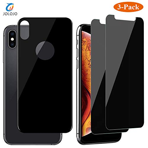 JOLOJO iPhone Xs Max Privacy Screen Protector Tempered Glass [Anti-Spy][Anti-Peep] with Tempered Back Glass [Front and Back] Protection [Case Friendly][Anti-Scratch] for iPhone Xs Max 6.5 inch