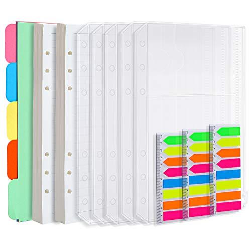Elcoho - Set di 2 ricambi di fogli formato A5 (90 fogli/180 pagine), 5 divisori colorati, 5 buste con chiusura a zip, 480 foglietti adesivi rettangolari e a forma di freccia
