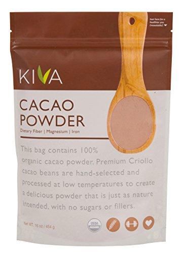 Kiva 未精製オーガニック・カカオパウダー (無糖カカオ – ダークチョコレートパウダー) – 454g