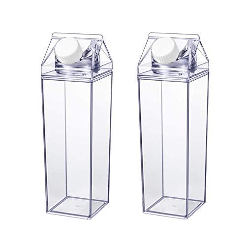 HEMOTON 2 Stück Klare Milchkarton Wasserflasche Plastikwasserflasche Saftflasche Bpa Freie Umweltfreundliche Flasche 500Ml