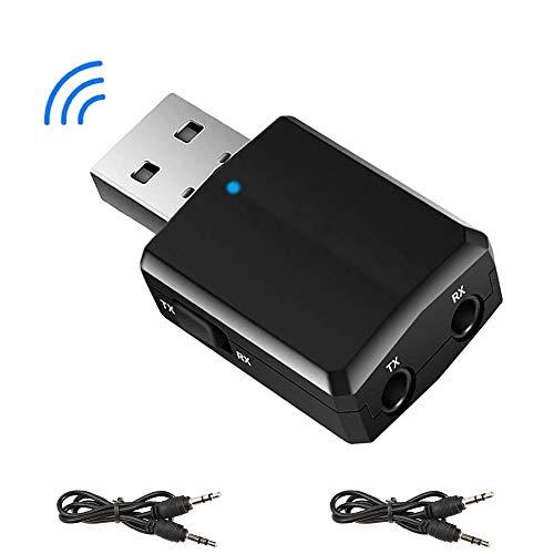 EasyULT USB Bluetooth 5.0 Adapter, 3-in-1 Empfänger und Transmitter, Tragbarer Mini Audio Adapter Sender Receiver mit 2X 3.5mm Digitales Audiokabel für PC/Kopfhörer/TV/Auto(schwarz)