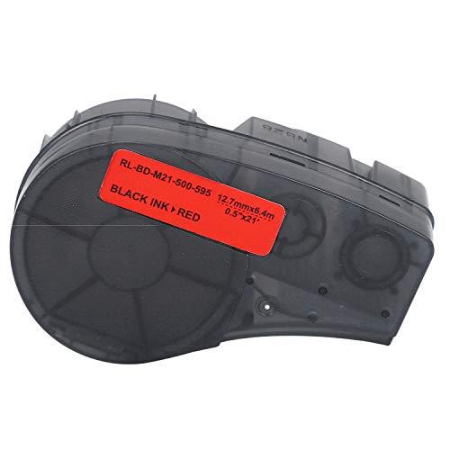 SNOWINSPRING 12,7 Mm X 6,4 M Hoch Klebendes Vinyl Beschriftungs Band M21-500-595-RD Etiketten Drucker, Kompatibel für Brady BMP21-PLUS Etiketten Drucker
