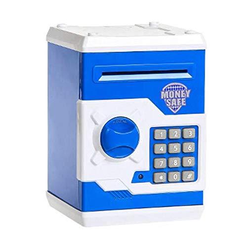 Hucha Monedas Hucha ATM Mini contraseña Dinero en Efectivo de mascar Caja de Seguridad Caja de Ahorro automático de Billetes Fuerte Regalo de los niños (Color : Blue)