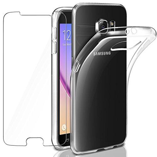 Leathlux Samsung Galaxy S6 Hülle + Panzerglas, Samsung S6 Durchsichtig Case Transparent Silikon TPU Schutzhülle Premium 9H Gehärtetes Glas für Samsung Galaxy S6 G920