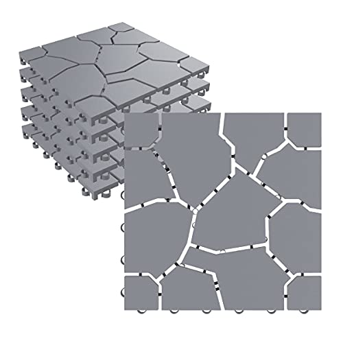 """Pure Garden 50-LG1171 Patio and Deck Tiles – Interlocking Stone Look Outdoor Flooring Pavers Weather Resistant and Anti-Slip Square DIY Mat (Grey Set of 6), 11. 5"""" L x 11. 5"""" W, 6 Count"""