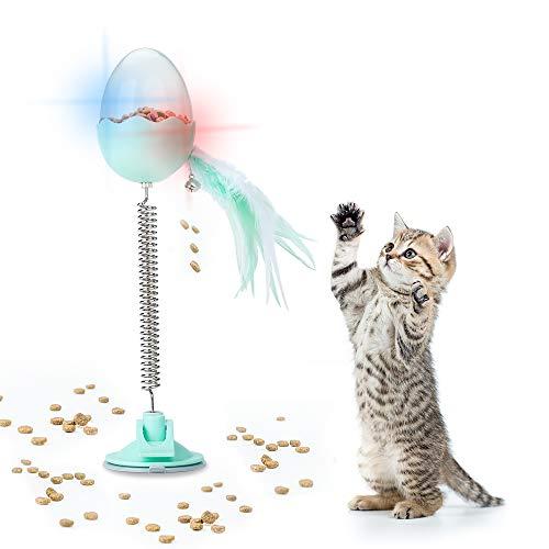Kinkaivy Katzenspielzeug, 3 in 1 Interaktive Lebensmittel Katzenfutter Tumbler Ball Spielzeug Für Automatisches rotierendes Federspielzeug, Ringglocke, Katzenball-Futterspender - Grün