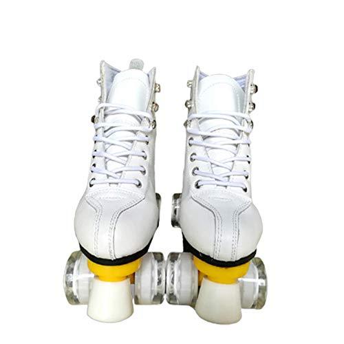 Rollschuhe Erwachsene Double Row Quad Rollschuhe Leder High-Top Outdoor Rollschuhe Kinder Mädchen-Weiß_40