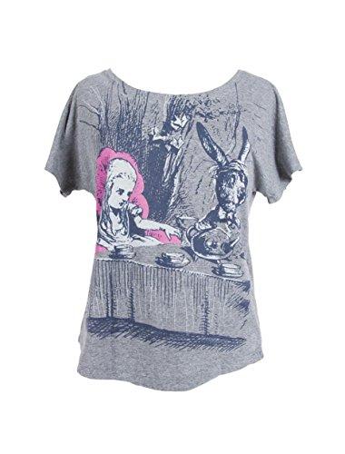 Camiseta de manga morcego feminina com tema literário de livro com estampa Out of Print, Alice in Wonderland, Large