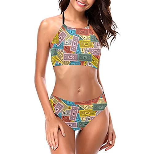 Vintage Monopoly Money Bikini Halter trajes de baño cuello redondo trajes de baño femenino Halter Bikini conjunto playa bikini