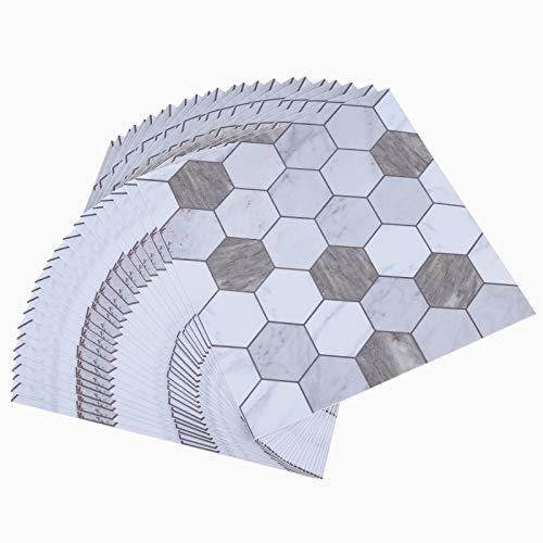 Topmail 24pcs PVC Adhesivo para Azulejos Impermeable, Pegatinas de Baldosas Cuadrado Azulejos Autoadhesivo para Baño y Cocina, Estilo Hexágono 20x20cm