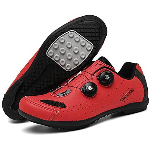DSMGLSBB Zapatillas De Ciclismo, Suela De Goma Calzado para Bicicleta De Carretera Y Montaña, Sin Bloqueo Respirable Zapatillas MTB Cleat Tamaño 36-47,Rojo,41