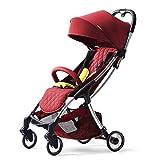 Not a brand Ultra-Light Puede Sentarse y Plegar el Carro de Paraguas de Bolsillo portátil, Cochecito de bebé Carro (Color : Red)