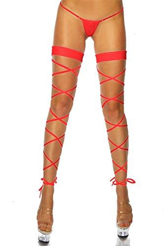 krautwear® Damen Overknees Elastische Halterlose Wickel Strümpfe Wrap Set Mit String Geöffnet Karneval Fasching Cosplay Strip