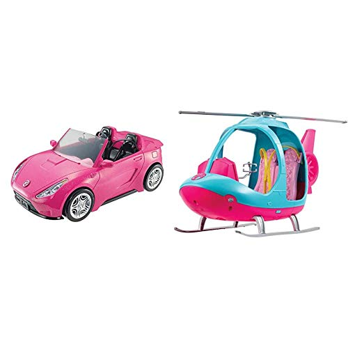 Barbie DVX59 Autre Glam Convertible Sports, Toy Vehicle for Doll, Pink Car & FWY29 Helicopter, Pink and Blue, with Spinning Rotor, Multicolored