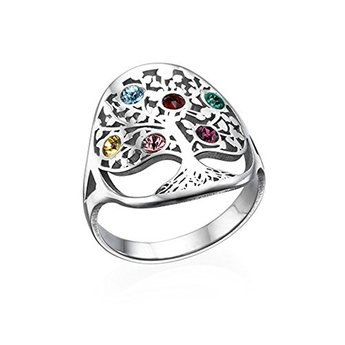 a266XDKSJK Tree of Life Ring Sliver Birthstone Ring Sterling Silver Family Tree Ring Custom Mother's Ring(Silver 10)