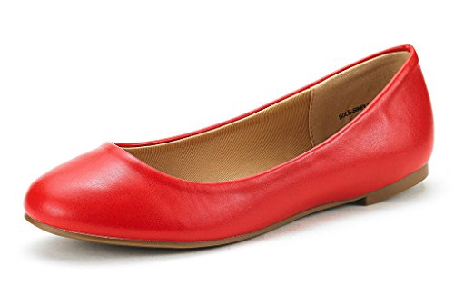 DREAM PAIRS Women's Sole-Simple Red Pu Ballerina Walking Flats Shoes - 6.5 M US