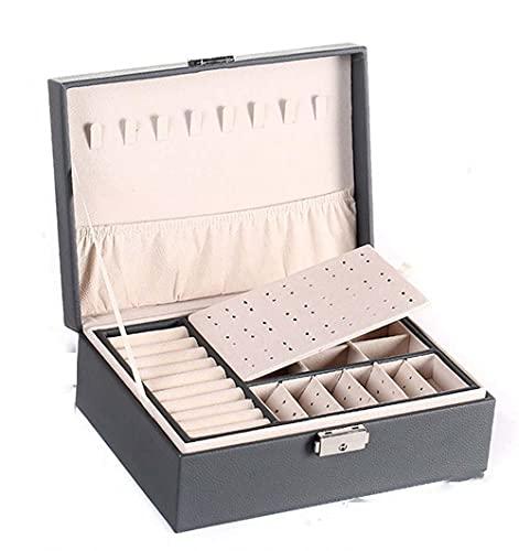 XGYUII Caja de empaquetado de la joyería, cuero del ataúd del almacenamiento de los pendientes del anillo