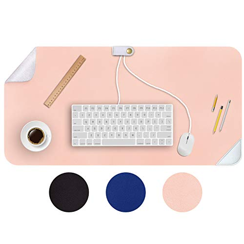 Computer Cable Storage Table Desk Pad Mat, No Unpleasant Smell Mouse Pads, Leather PU Desk Blotters Protector, Waterproof Writing Desk Pad Accessories for Home Office Kid (Pink Silver 31.5' x 15.7')