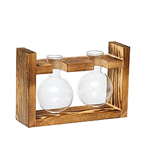 Desktop Glass Planter Bulb Vase with Retro Solid Wooden Stand and Metal Swivel Holder for Hydroponics Plants Home Garden Wedding Decor 1pc