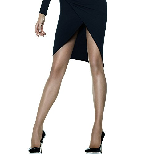 Hanes Silk Reflections Women's Sheerest Support Control Top, Barely Black, A/B